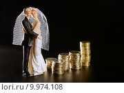 Купить «wedding couple figurine and golden coins», фото № 9974108, снято 19 августа 2018 г. (c) PantherMedia / Фотобанк Лори