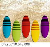 Купить «surf boards», фото № 10048008, снято 16 августа 2018 г. (c) PantherMedia / Фотобанк Лори