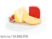 Купить «Cheese variaton on plate isolated on white background.», фото № 10056976, снято 26 мая 2020 г. (c) PantherMedia / Фотобанк Лори