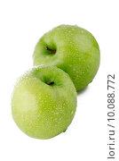Купить «Two fresh green apples», фото № 10088772, снято 21 февраля 2019 г. (c) PantherMedia / Фотобанк Лори