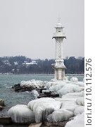 Купить «Frozen Geneva lighthouse», фото № 10112576, снято 21 июля 2018 г. (c) PantherMedia / Фотобанк Лори