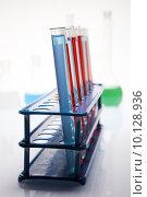 Купить «Laboratory flasks with fluids of different colors », фото № 10128936, снято 16 октября 2018 г. (c) PantherMedia / Фотобанк Лори