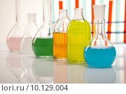 Купить «Laboratory flasks with fluids of different colors », фото № 10129004, снято 18 августа 2018 г. (c) PantherMedia / Фотобанк Лори