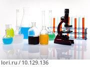 Купить «Laboratory flasks with fluids of different colors », фото № 10129136, снято 16 октября 2018 г. (c) PantherMedia / Фотобанк Лори