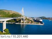 Вид на мост Франьо Туджмана и город Дубровник в Хорватии (2015 год). Стоковое фото, фотограф Дмитрий Девин / Фотобанк Лори