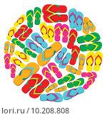 Купить «Flip flops circle», иллюстрация № 10208808 (c) PantherMedia / Фотобанк Лори