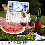 Купить « Wine and picnic basket on the grass », фото № 10229156, снято 15 ноября 2019 г. (c) PantherMedia / Фотобанк Лори