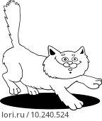 running fluffy cat fot coloring. Стоковая иллюстрация, иллюстратор Igor Zakowski / PantherMedia / Фотобанк Лори