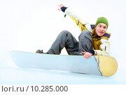 Купить «Portrait of young man going in for snowboarding in winter», фото № 10285000, снято 21 октября 2018 г. (c) PantherMedia / Фотобанк Лори