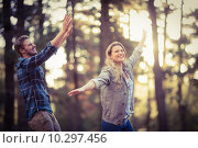 Купить «Smiling happy couple having fun», фото № 10297456, снято 27 мая 2015 г. (c) Wavebreak Media / Фотобанк Лори