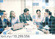 Купить «business team with laptop having discussion», фото № 10299556, снято 9 ноября 2013 г. (c) Syda Productions / Фотобанк Лори