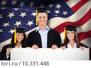 Купить «Composite image of three students having graduated holding a blank poster», фото № 10331448, снято 20 августа 2018 г. (c) Wavebreak Media / Фотобанк Лори