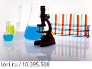 Купить «Laboratory flasks with fluids of different colors », фото № 10395508, снято 18 августа 2018 г. (c) PantherMedia / Фотобанк Лори