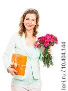 Купить «Happy woman with flower and gift», фото № 10404144, снято 24 января 2019 г. (c) PantherMedia / Фотобанк Лори