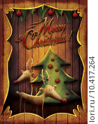 Купить «Christmas card - Rudolph with tree in wooden frame», фото № 10417264, снято 16 июня 2019 г. (c) PantherMedia / Фотобанк Лори