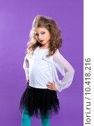 Купить «Children fashion makeup kid girl on purple», фото № 10418216, снято 25 марта 2019 г. (c) PantherMedia / Фотобанк Лори