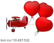 Купить «Triplane and three hearts on a white background », иллюстрация № 10437532 (c) PantherMedia / Фотобанк Лори