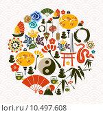 Купить «Chinese New Year of the Snake circle», иллюстрация № 10497608 (c) PantherMedia / Фотобанк Лори
