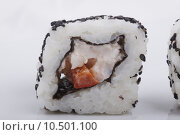 Купить «Sushi isolated on a white background», фото № 10501100, снято 20 января 2020 г. (c) PantherMedia / Фотобанк Лори