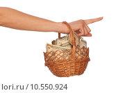 Купить «basket with money», фото № 10550924, снято 22 февраля 2019 г. (c) PantherMedia / Фотобанк Лори