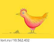 Купить «Chicken having meal, child's drawing, watercolor painting on paper», иллюстрация № 10562432 (c) PantherMedia / Фотобанк Лори