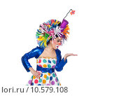 Купить «Funny girl clown looking something over her hand», фото № 10579108, снято 25 августа 2019 г. (c) PantherMedia / Фотобанк Лори