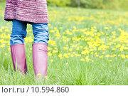 Купить «detail of woman wearing rubber boots on spring meadow», фото № 10594860, снято 24 января 2019 г. (c) PantherMedia / Фотобанк Лори