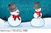 Купить «detailed illustration of snowmen in a snow land», иллюстрация № 10612188 (c) PantherMedia / Фотобанк Лори