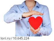 Купить «person holding a heart», фото № 10645224, снято 22 марта 2019 г. (c) PantherMedia / Фотобанк Лори