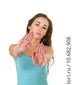 Купить «woman hand stop refuse rejection», фото № 10682908, снято 21 марта 2019 г. (c) PantherMedia / Фотобанк Лори