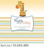 Купить «birthday card with giraffe», фото № 10693480, снято 23 февраля 2019 г. (c) PantherMedia / Фотобанк Лори