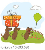 Купить «three dogs that offer a big gift. birthday greeting card», фото № 10693680, снято 23 февраля 2019 г. (c) PantherMedia / Фотобанк Лори