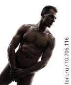 handsome naked muscular man standing portrait  silhouette, фото № 10706116, снято 30 марта 2017 г. (c) PantherMedia / Фотобанк Лори