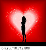 Купить «Sexy female on a starry heart», иллюстрация № 10712808 (c) PantherMedia / Фотобанк Лори