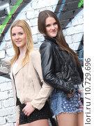 Купить «brown two brunette blond girlfriends», фото № 10729696, снято 18 февраля 2020 г. (c) PantherMedia / Фотобанк Лори