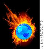 Купить «Burning globe earth», фото № 10736716, снято 20 сентября 2019 г. (c) PantherMedia / Фотобанк Лори