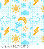 Купить «Weather hand drawn seamless pattern.», фото № 10740016, снято 20 сентября 2019 г. (c) PantherMedia / Фотобанк Лори