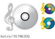 Купить «compact disc with treble clef», фото № 10740032, снято 26 июня 2019 г. (c) PantherMedia / Фотобанк Лори