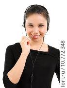 Купить «Telemarketing headset woman», фото № 10772348, снято 24 января 2019 г. (c) PantherMedia / Фотобанк Лори