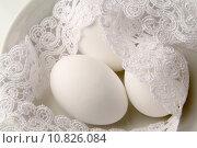 Купить «Snow white eggs and lace», фото № 10826084, снято 20 марта 2019 г. (c) PantherMedia / Фотобанк Лори