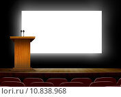 Купить «Conference hall with podium and presentation  screens », фото № 10838968, снято 3 августа 2019 г. (c) PantherMedia / Фотобанк Лори