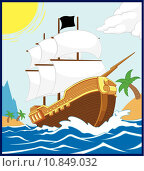 Купить «Pirate Ship on the Shore (Square Frame)», иллюстрация № 10849032 (c) PantherMedia / Фотобанк Лори