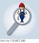 Купить «Service search plumber boy cartoon.», иллюстрация № 10867240 (c) PantherMedia / Фотобанк Лори