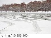Купить «unfrozen patch of water in  icebound river», фото № 10883160, снято 19 июля 2019 г. (c) PantherMedia / Фотобанк Лори