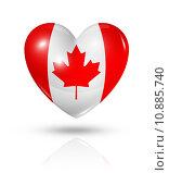 Купить «Love Canada, heart flag icon», иллюстрация № 10885740 (c) PantherMedia / Фотобанк Лори