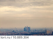 Купить «smog on sunset under Moscow city», фото № 10889304, снято 13 июля 2020 г. (c) PantherMedia / Фотобанк Лори