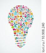 Купить «Social media icons isolated idea light bulb EPS10 file.», иллюстрация № 10908240 (c) PantherMedia / Фотобанк Лори