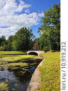 Купить «Summer landscape of the Pavlovsk garden, Pil-Tower pavilion.», фото № 10919212, снято 20 февраля 2020 г. (c) PantherMedia / Фотобанк Лори