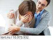 Купить «Image of compassionate psychiatrist comforting her crying patient», фото № 10973932, снято 16 июня 2019 г. (c) PantherMedia / Фотобанк Лори