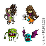 Купить «Halloween monsters isolated sketch style creatures set.», иллюстрация № 10975232 (c) PantherMedia / Фотобанк Лори